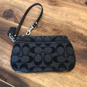 Coach black signature C wristlet